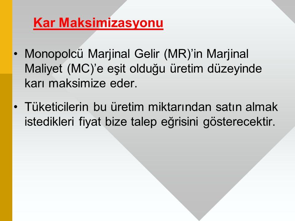 Kar Maksimizasyonu Monopolcü Marjinal Gelir (MR)'in Marjinal Maliyet (MC)'e eşit olduğu üretim düzeyinde karı maksimize eder. Tüketicilerin bu üretim
