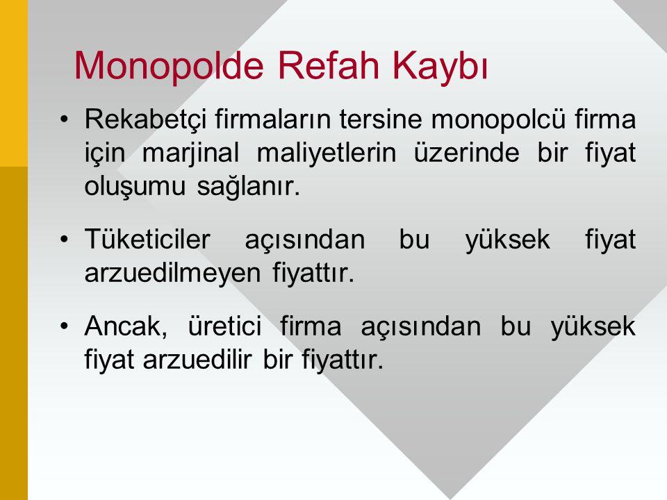 Monopolde Refah Kaybı Rekabetçi firmaların tersine monopolcü firma için marjinal maliyetlerin üzerinde bir fiyat oluşumu sağlanır. Tüketiciler açısınd