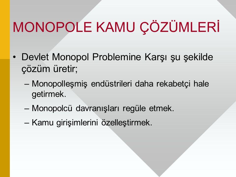 MONOPOLE KAMU ÇÖZÜMLERİ Devlet Monopol Problemine Karşı şu şekilde çözüm üretir; –Monopolleşmiş endüstrileri daha rekabetçi hale getirmek. –Monopolcü