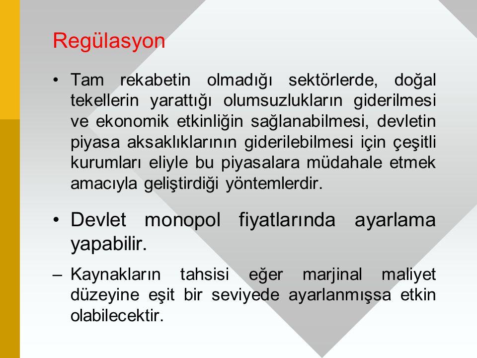 Regülasyon Tam rekabetin olmadığı sektörlerde, doğal tekellerin yarattığı olumsuzlukların giderilmesi ve ekonomik etkinliğin sağlanabilmesi, devletin