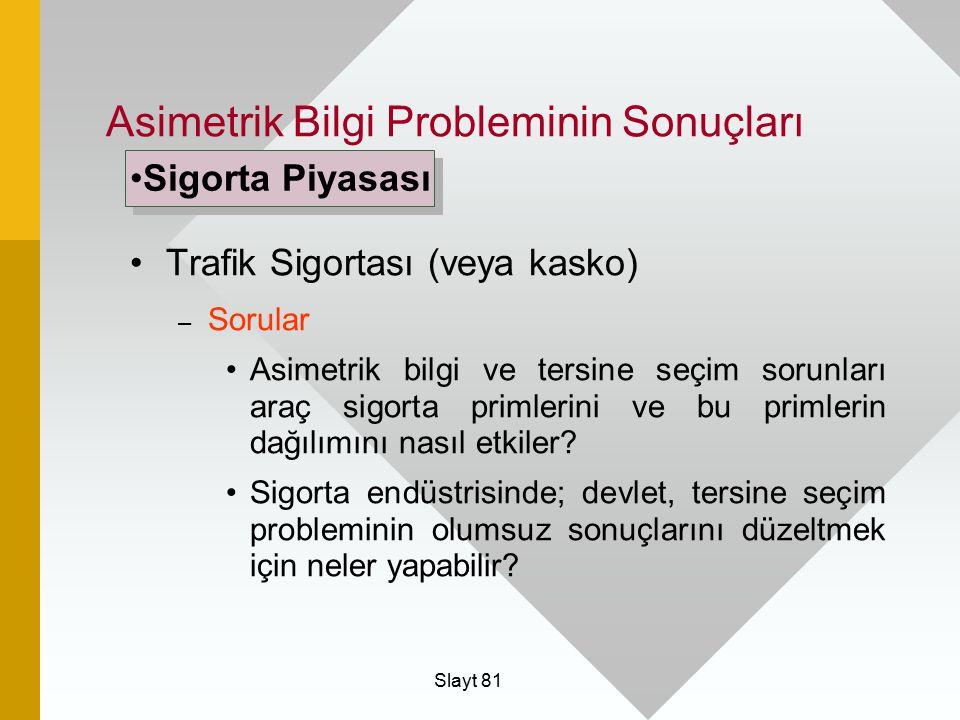 Slayt 81 Asimetrik Bilgi Probleminin Sonuçları Trafik Sigortası (veya kasko) – Sorular Asimetrik bilgi ve tersine seçim sorunları araç sigorta primler