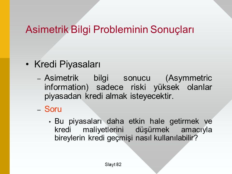 Slayt 82 Asimetrik Bilgi Probleminin Sonuçları Kredi Piyasaları – Asimetrik bilgi sonucu (Asymmetric information) sadece riski yüksek olanlar piyasada