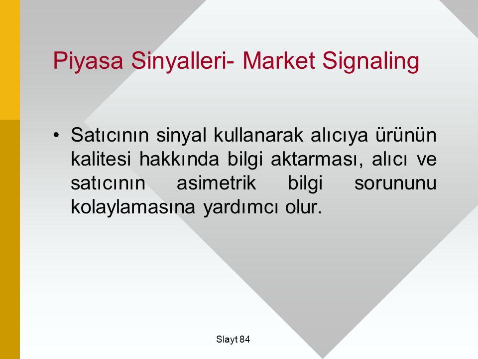 Slayt 84 Piyasa Sinyalleri- Market Signaling Satıcının sinyal kullanarak alıcıya ürünün kalitesi hakkında bilgi aktarması, alıcı ve satıcının asimetri