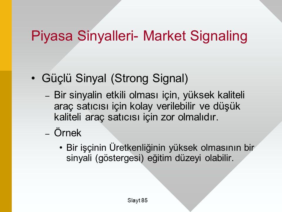 Slayt 85 Piyasa Sinyalleri- Market Signaling Güçlü Sinyal (Strong Signal) – Bir sinyalin etkili olması için, yüksek kaliteli araç satıcısı için kolay