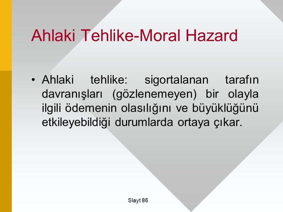 Slayt 86 Ahlaki Tehlike-Moral Hazard Ahlaki tehlike: sigortalanan tarafın davranışları (gözlenemeyen) bir olayla ilgili ödemenin olasılığını ve büyükl