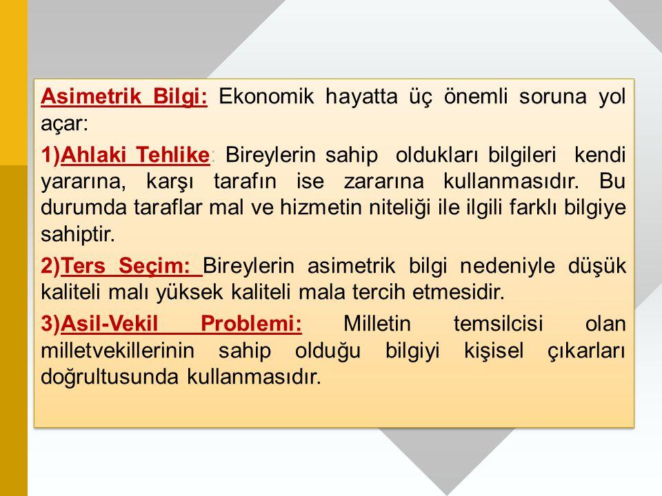Asimetrik Bilgi: Ekonomik hayatta üç önemli soruna yol açar: 1)Ahlaki Tehlike: Bireylerin sahip oldukları bilgileri kendi yararına, karşı tarafın ise