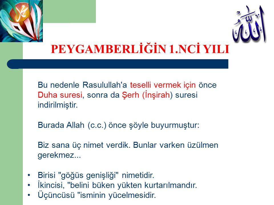 Bu nedenle Rasulullah'a teselli vermek için önce Duha suresi, sonra da Şerh (İnşirah) suresi indirilmiştir. Burada Allah (c.c.) önce şöyle buyurmuştur