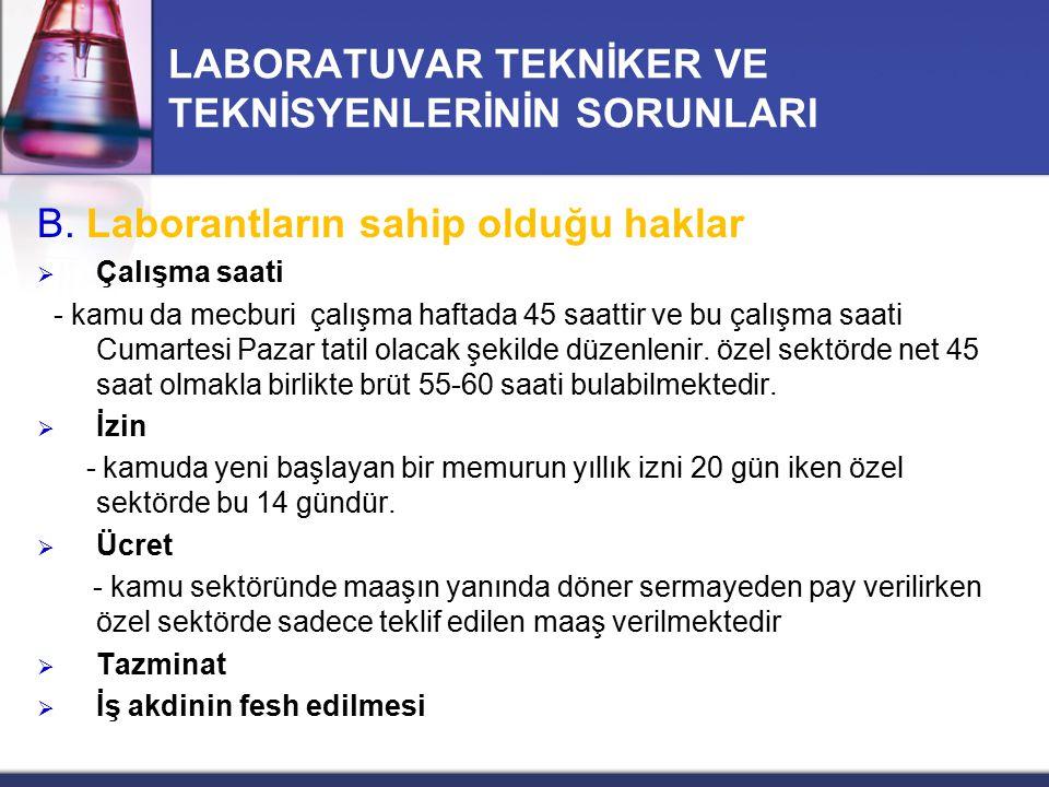 LABORATUVAR TEKNİKER VE TEKNİSYENLERİNİN SORUNLARI B. Laborantların sahip olduğu haklar  Çalışma saati - kamu da mecburi çalışma haftada 45 saattir v