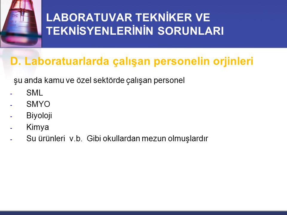 LABORATUVAR TEKNİKER VE TEKNİSYENLERİNİN SORUNLARI D. Laboratuarlarda çalışan personelin orjinleri şu anda kamu ve özel sektörde çalışan personel - SM