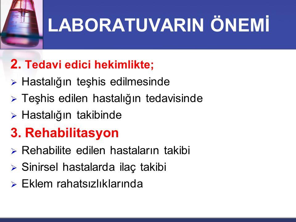 LABORATUVARIN ÖNEMİ 2. Tedavi edici hekimlikte;  Hastalığın teşhis edilmesinde  Teşhis edilen hastalığın tedavisinde  Hastalığın takibinde 3. Rehab