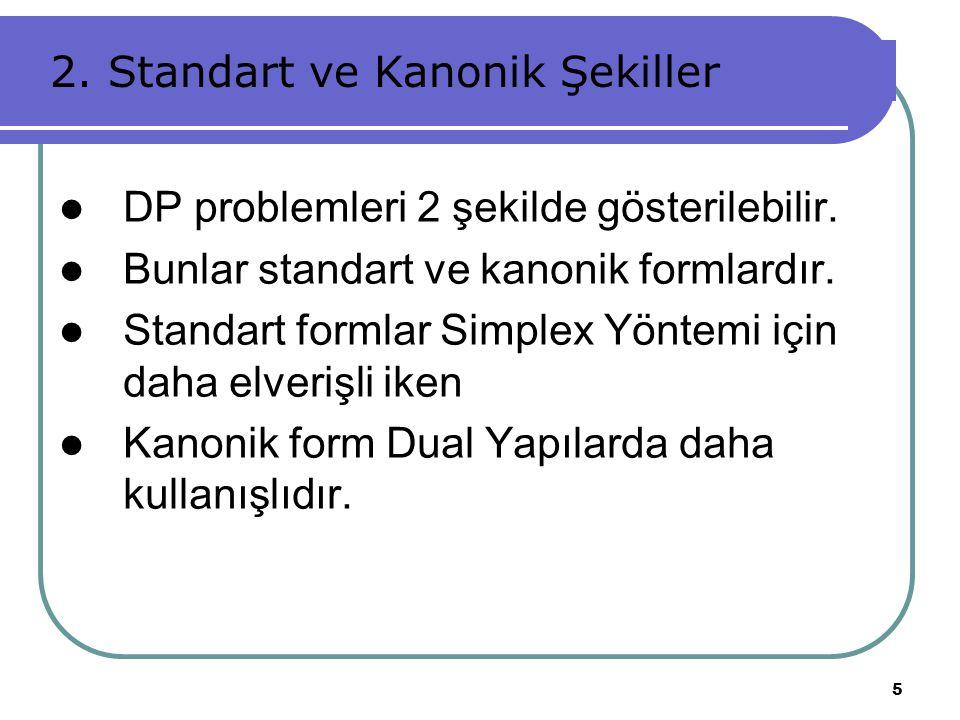 5 DP problemleri 2 şekilde gösterilebilir. Bunlar standart ve kanonik formlardır. Standart formlar Simplex Yöntemi için daha elverişli iken Kanonik fo