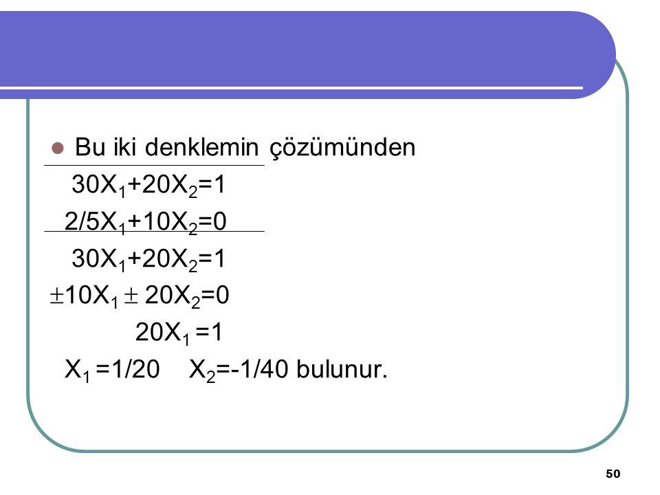 50 Bu iki denklemin çözümünden 30X 1 +20X 2 =1 2/5X 1 +10X 2 =0 30X 1 +20X 2 =1  10X 1  20X 2 =0 20X 1 =1 X 1 =1/20 X 2 =-1/40 bulunur.