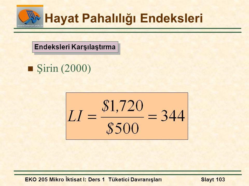 EKO 205 Mikro İktisat I: Ders 1 Tüketici DavranışlarıSlayt 103 Hayat Pahalılığı Endeksleri Şirin (2000) Endeksleri Karşılaştırma