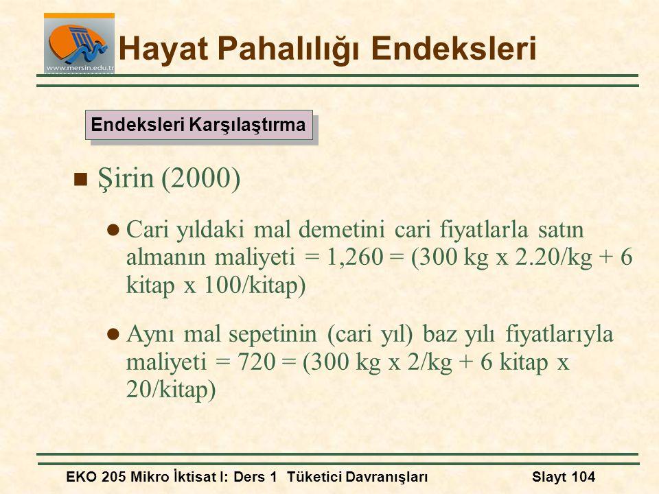 EKO 205 Mikro İktisat I: Ders 1 Tüketici DavranışlarıSlayt 104 Hayat Pahalılığı Endeksleri Şirin (2000) Cari yıldaki mal demetini cari fiyatlarla satı