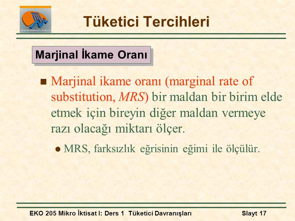 EKO 205 Mikro İktisat I: Ders 1 Tüketici DavranışlarıSlayt 17 Tüketici Tercihleri Marjinal ikame oranı (marginal rate of substitution, MRS) bir maldan