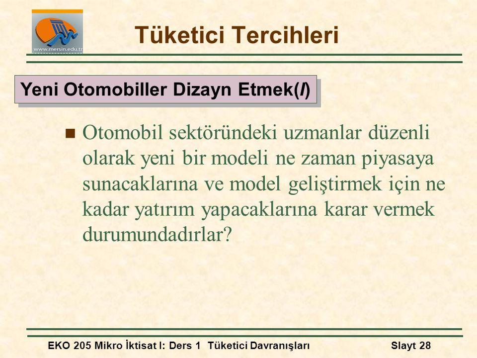 EKO 205 Mikro İktisat I: Ders 1 Tüketici DavranışlarıSlayt 28 Tüketici Tercihleri Otomobil sektöründeki uzmanlar düzenli olarak yeni bir modeli ne zam
