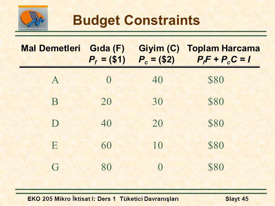 EKO 205 Mikro İktisat I: Ders 1 Tüketici DavranışlarıSlayt 45 Budget Constraints A040$80 B2030$80 D4020$80 E6010$80 G800$80 Mal DemetleriGıda (F) Giyi