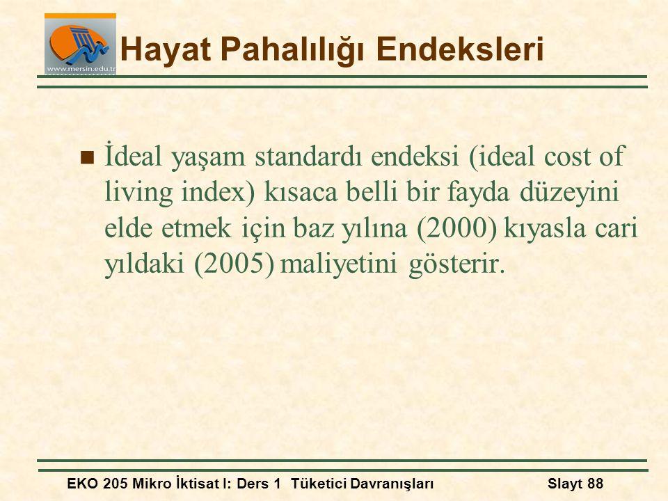 EKO 205 Mikro İktisat I: Ders 1 Tüketici DavranışlarıSlayt 88 Hayat Pahalılığı Endeksleri İdeal yaşam standardı endeksi (ideal cost of living index) k