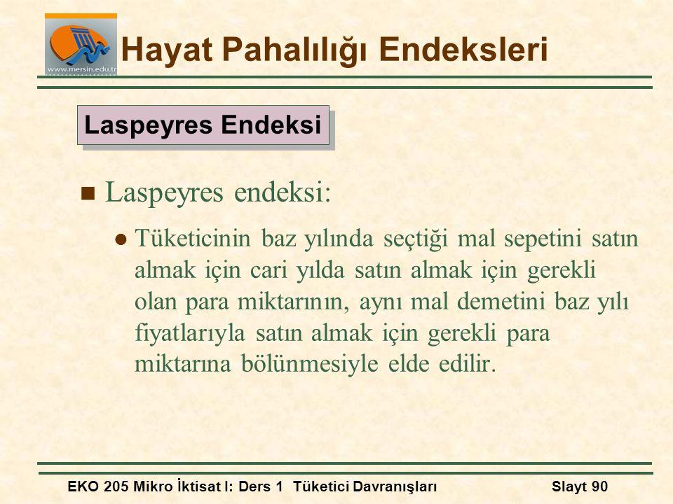 EKO 205 Mikro İktisat I: Ders 1 Tüketici DavranışlarıSlayt 90 Hayat Pahalılığı Endeksleri Laspeyres endeksi: Tüketicinin baz yılında seçtiği mal sepet
