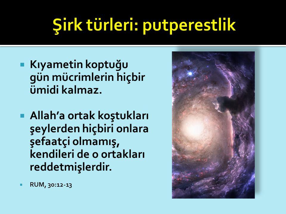  Kıyametin koptuğu gün mücrimlerin hiçbir ümidi kalmaz.  Allah'a ortak koştukları şeylerden hiçbiri onlara şefaatçi olmamış, kendileri de o ortaklar
