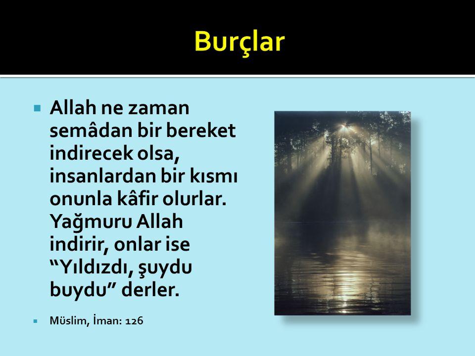 """ Allah ne zaman semâdan bir bereket indirecek olsa, insanlardan bir kısmı onunla kâfir olurlar. Yağmuru Allah indirir, onlar ise """"Yıldızdı, şuydu buy"""