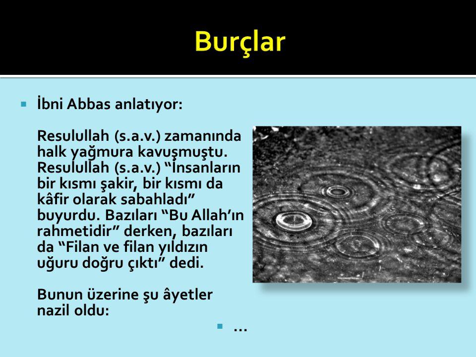""" İbni Abbas anlatıyor: Resulullah (s.a.v.) zamanında halk yağmura kavuşmuştu. Resulullah (s.a.v.) """"İnsanların bir kısmı şakir, bir kısmı da kâfir ola"""