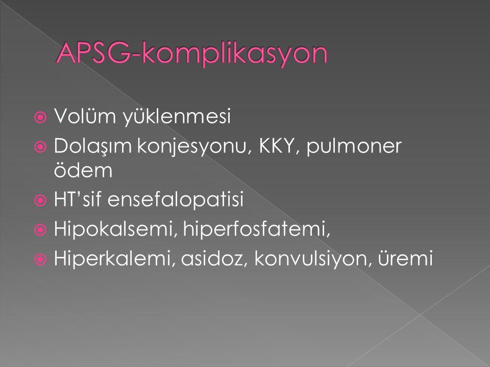  Volüm yüklenmesi  Dolaşım konjesyonu, KKY, pulmoner ödem  HT'sif ensefalopatisi  Hipokalsemi, hiperfosfatemi,  Hiperkalemi, asidoz, konvulsiyon,