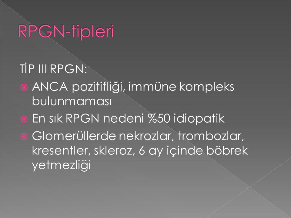 TİP III RPGN:  ANCA pozitifliği, immüne kompleks bulunmaması  En sık RPGN nedeni %50 idiopatik  Glomerüllerde nekrozlar, trombozlar, kresentler, sk