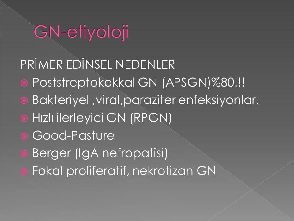 PRİMER EDİNSEL NEDENLER  Poststreptokokkal GN (APSGN)%80!!!  Bakteriyel,viral,paraziter enfeksiyonlar.  Hızlı ilerleyici GN (RPGN)  Good-Pasture 