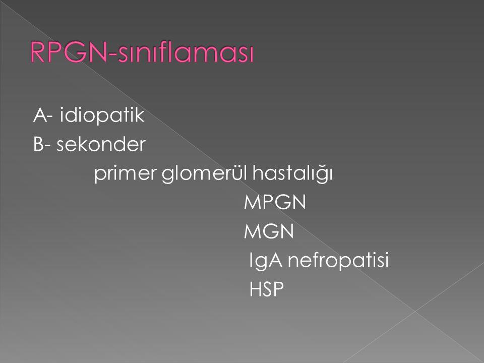 A- idiopatik B- sekonder primer glomerül hastalığı MPGN MGN IgA nefropatisi HSP