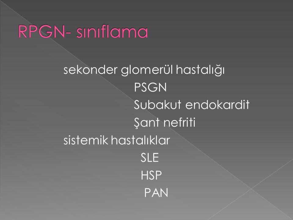 sekonder glomerül hastalığı PSGN Subakut endokardit Şant nefriti sistemik hastalıklar SLE HSP PAN