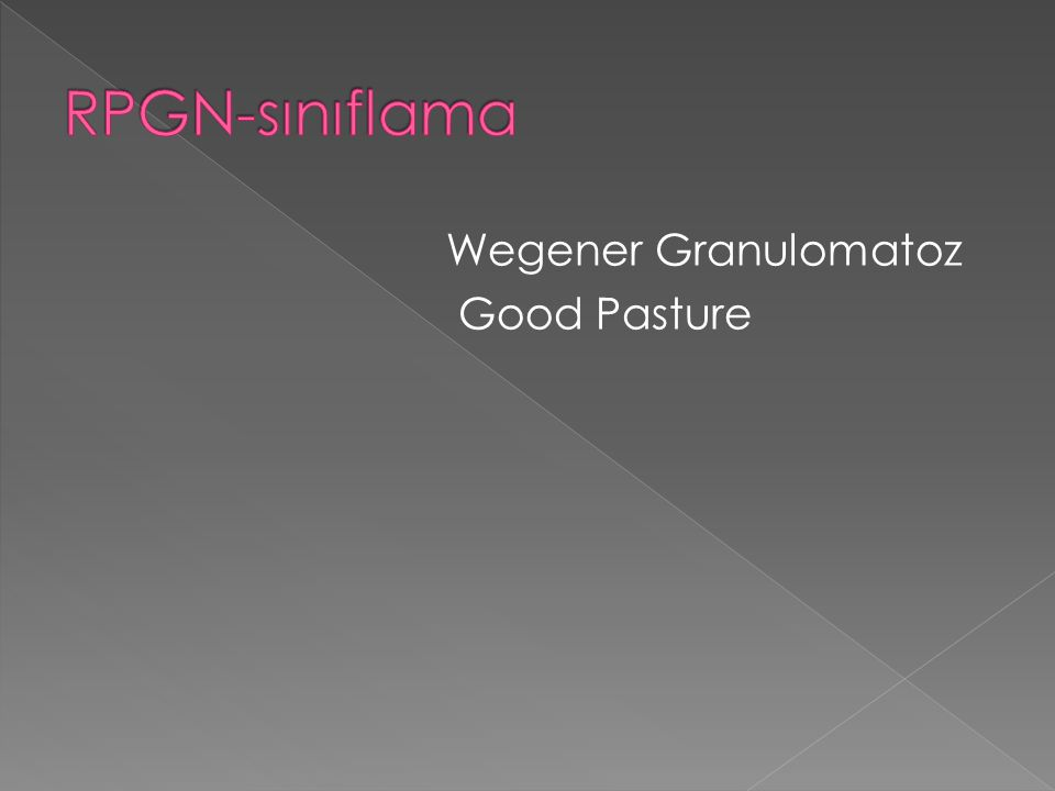 Wegener Granulomatoz Good Pasture
