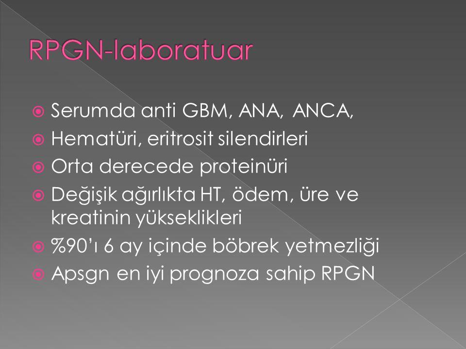  Serumda anti GBM, ANA, ANCA,  Hematüri, eritrosit silendirleri  Orta derecede proteinüri  Değişik ağırlıkta HT, ödem, üre ve kreatinin yükseklikl