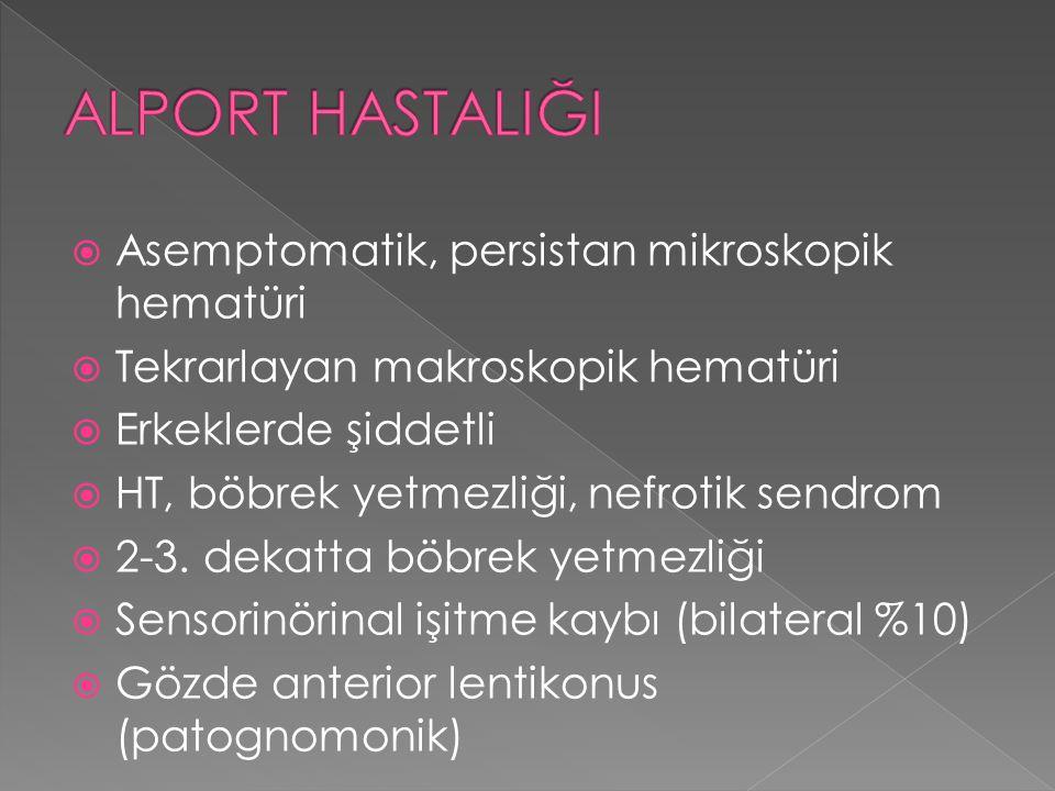  Asemptomatik, persistan mikroskopik hematüri  Tekrarlayan makroskopik hematüri  Erkeklerde şiddetli  HT, böbrek yetmezliği, nefrotik sendrom  2-