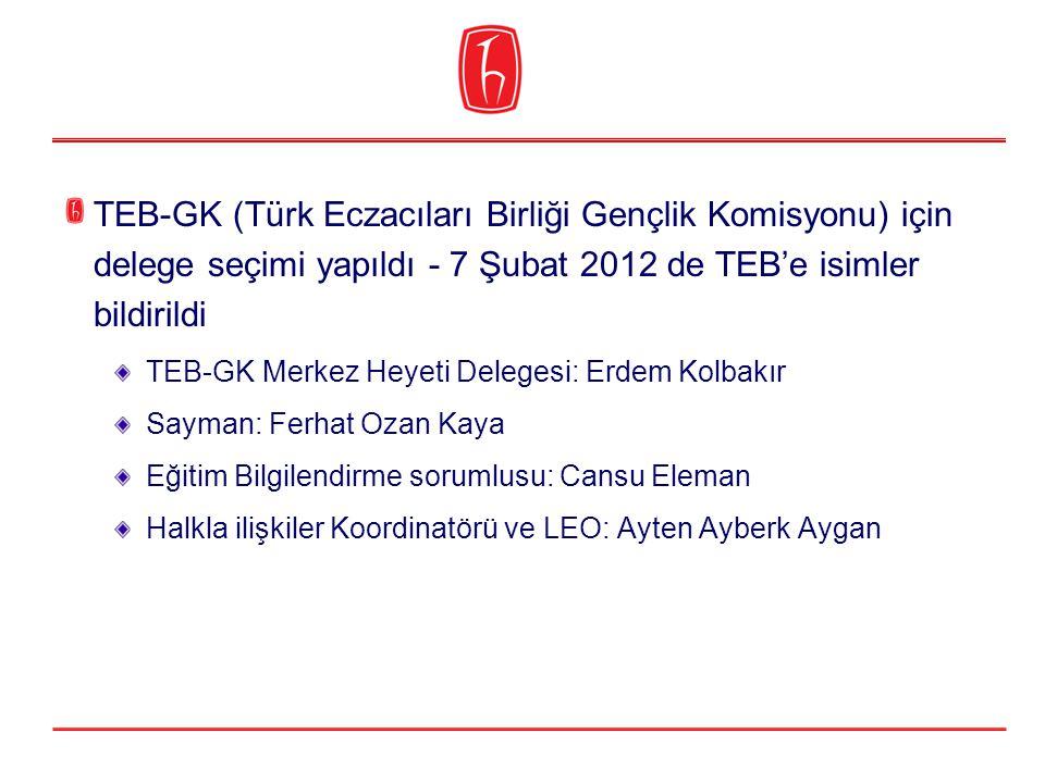 TEB-GK (Türk Eczacıları Birliği Gençlik Komisyonu) için delege seçimi yapıldı - 7 Şubat 2012 de TEB'e isimler bildirildi TEB-GK Merkez Heyeti Delegesi