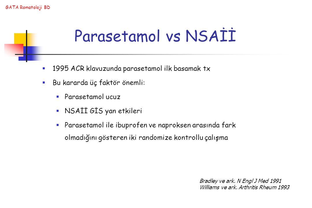 GATA Romatoloji BD Parasetamol vs NSAİİ  1995 ACR klavuzunda parasetamol ilk basamak tx  Bu kararda üç faktör önemli:  Parasetamol ucuz  NSAİİ GİS yan etkileri  Parasetamol ile ibuprofen ve naproksen arasında fark olmadığını gösteren iki randomize kontrollu çalışma Bradley ve ark.