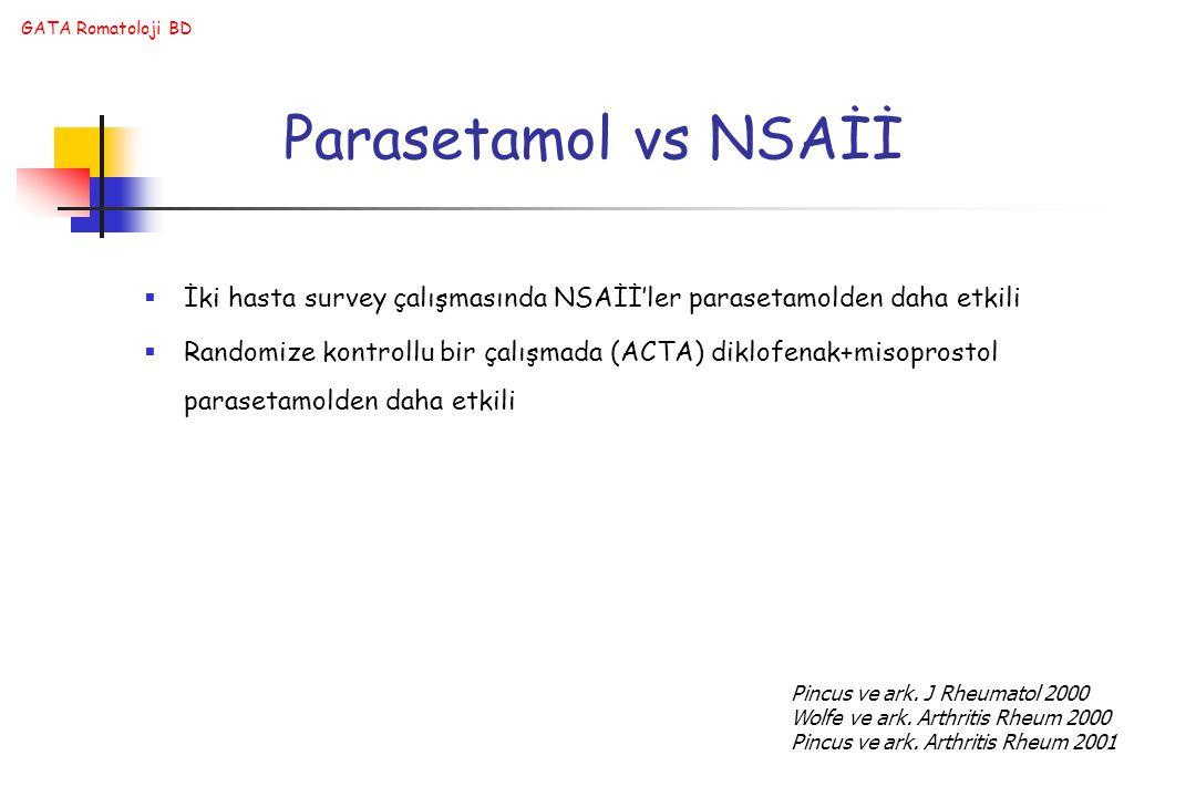 GATA Romatoloji BD Parasetamol vs NSAİİ  İki hasta survey çalışmasında NSAİİ'ler parasetamolden daha etkili  Randomize kontrollu bir çalışmada (ACTA) diklofenak+misoprostol parasetamolden daha etkili Pincus ve ark.