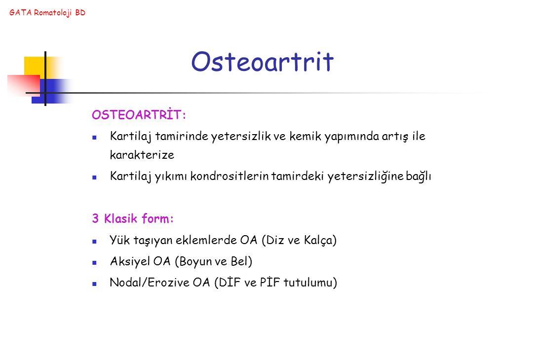 Osteoartrit OSTEOARTRİT: Kartilaj tamirinde yetersizlik ve kemik yapımında artış ile karakterize Kartilaj yıkımı kondrositlerin tamirdeki yetersizliğine bağlı 3 Klasik form: Yük taşıyan eklemlerde OA (Diz ve Kalça) Aksiyel OA (Boyun ve Bel) Nodal/Erozive OA (DİF ve PİF tutulumu)