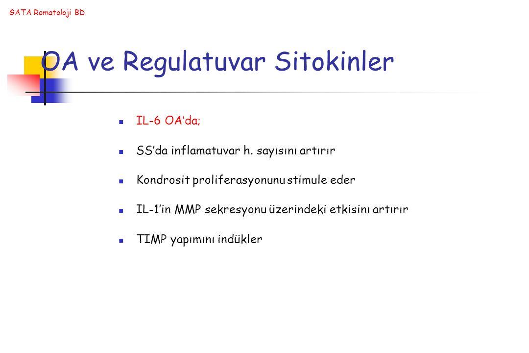 GATA Romatoloji BD OA ve Regulatuvar Sitokinler IL-6 OA'da; SS'da inflamatuvar h.