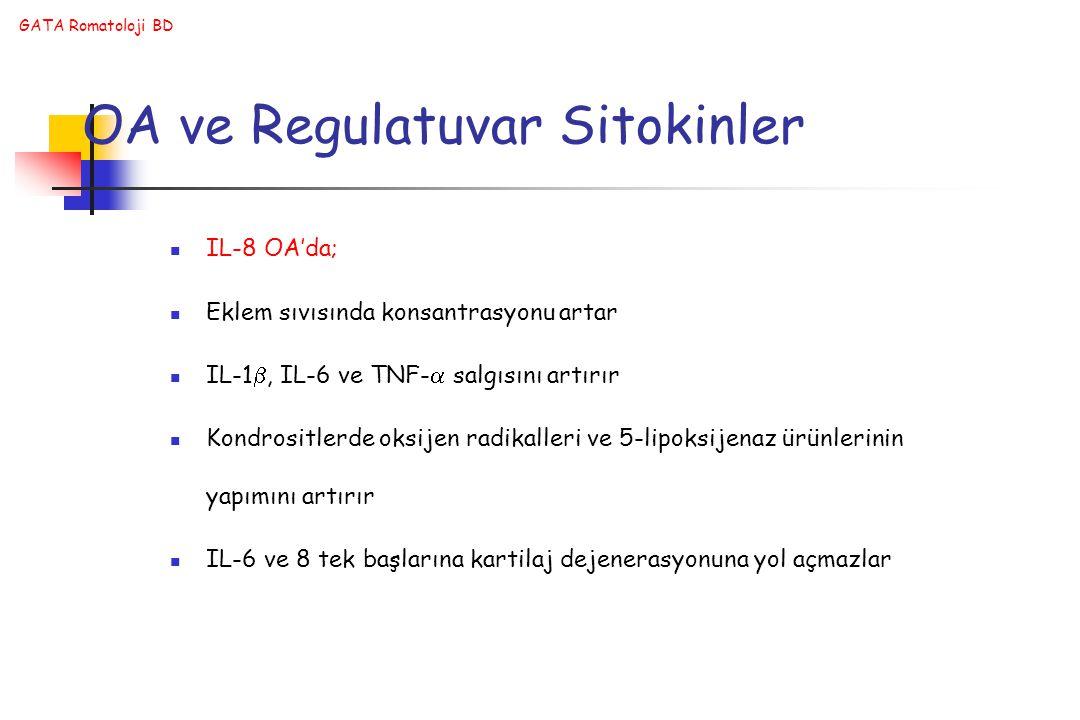 GATA Romatoloji BD OA ve Regulatuvar Sitokinler IL-8 OA'da; Eklem sıvısında konsantrasyonu artar IL-1 , IL-6 ve TNF-  salgısını artırır Kondrositlerde oksijen radikalleri ve 5-lipoksijenaz ürünlerinin yapımını artırır IL-6 ve 8 tek başlarına kartilaj dejenerasyonuna yol açmazlar