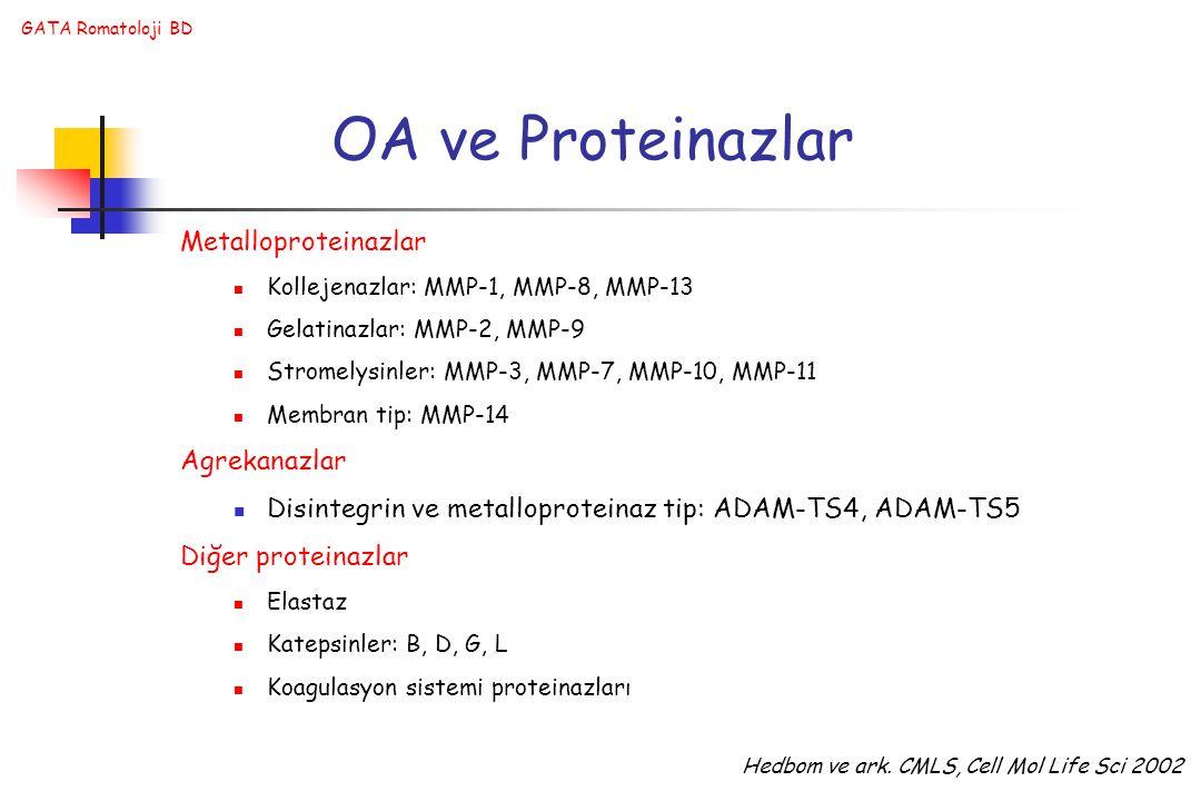 GATA Romatoloji BD OA ve Proteinazlar Metalloproteinazlar Kollejenazlar: MMP-1, MMP-8, MMP-13 Gelatinazlar: MMP-2, MMP-9 Stromelysinler: MMP-3, MMP-7, MMP-10, MMP-11 Membran tip: MMP-14 Agrekanazlar Disintegrin ve metalloproteinaz tip: ADAM-TS4, ADAM-TS5 Diğer proteinazlar Elastaz Katepsinler: B, D, G, L Koagulasyon sistemi proteinazları Hedbom ve ark.
