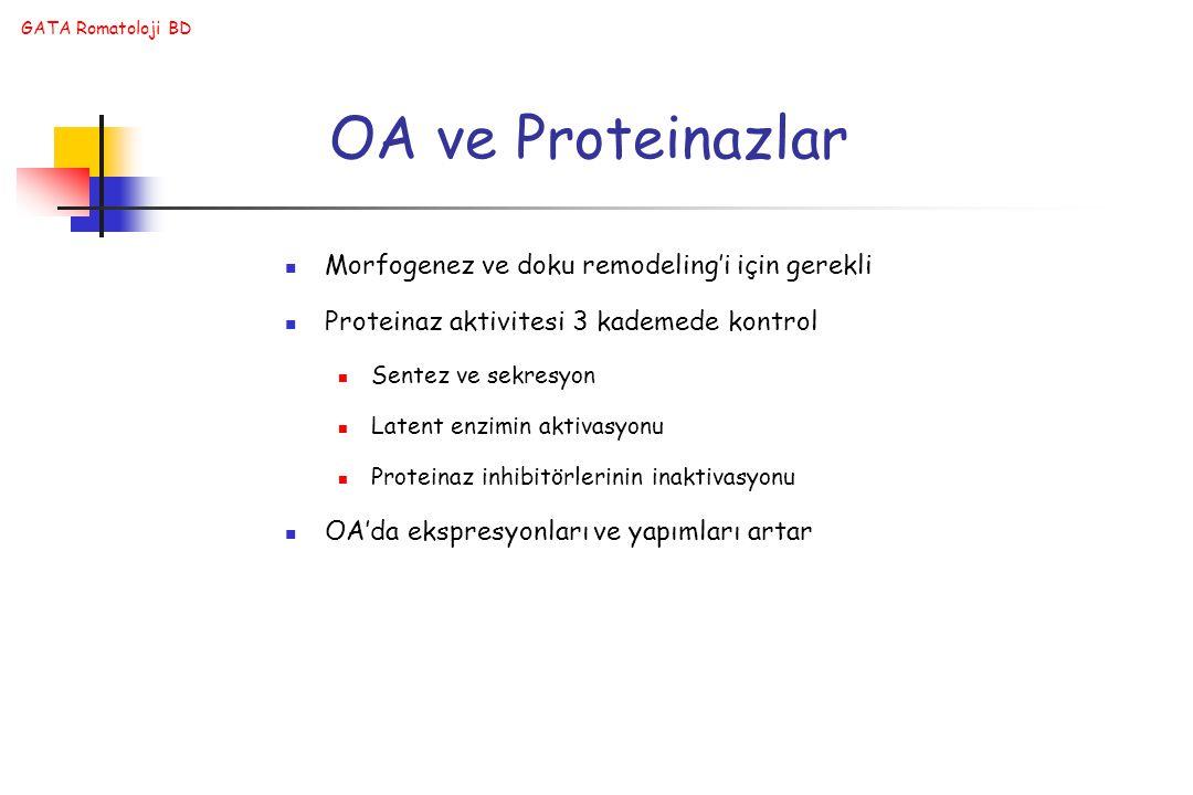 GATA Romatoloji BD OA ve Proteinazlar Morfogenez ve doku remodeling'i için gerekli Proteinaz aktivitesi 3 kademede kontrol Sentez ve sekresyon Latent enzimin aktivasyonu Proteinaz inhibitörlerinin inaktivasyonu OA'da ekspresyonları ve yapımları artar