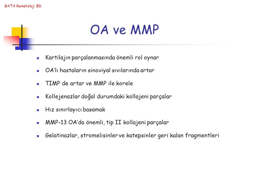 GATA Romatoloji BD OA ve MMP Kartilajın parçalanmasında önemli rol oynar OA'lı hastaların sinoviyal sıvılarında artar TIMP de artar ve MMP ile korele Kollejenazlar doğal durumdaki kollajeni parçalar Hız sınırlayıcı basamak MMP-13 OA'da önemli, tip II kollajeni parçalar Gelatinazlar, stromelisinler ve katepsinler geri kalan fragmentleri