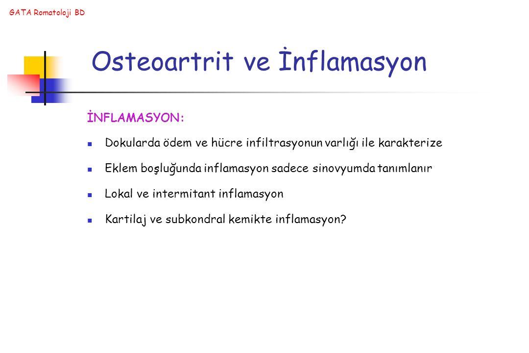Osteoartrit ve İnflamasyon İNFLAMASYON: Dokularda ödem ve hücre infiltrasyonun varlığı ile karakterize Eklem boşluğunda inflamasyon sadece sinovyumda tanımlanır Lokal ve intermitant inflamasyon Kartilaj ve subkondral kemikte inflamasyon?