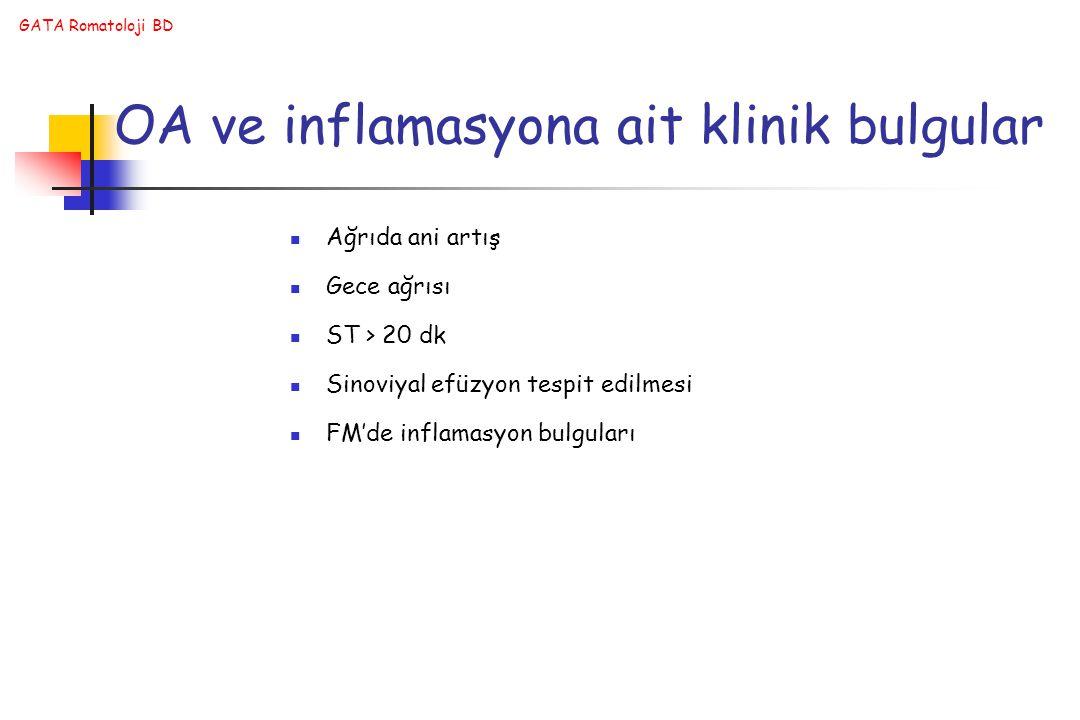 GATA Romatoloji BD OA ve inflamasyona ait klinik bulgular Ağrıda ani artış Gece ağrısı ST > 20 dk Sinoviyal efüzyon tespit edilmesi FM'de inflamasyon bulguları