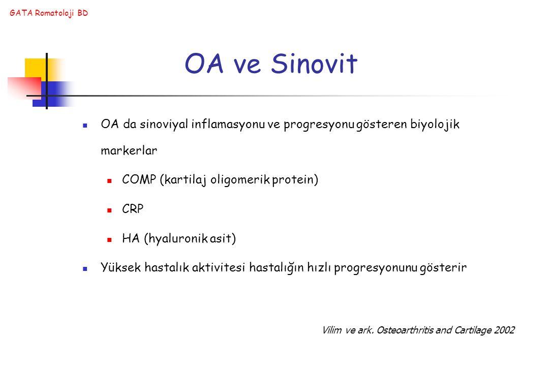 GATA Romatoloji BD OA ve Sinovit OA da sinoviyal inflamasyonu ve progresyonu gösteren biyolojik markerlar COMP (kartilaj oligomerik protein) CRP HA (hyaluronik asit) Yüksek hastalık aktivitesi hastalığın hızlı progresyonunu gösterir Vilim ve ark.