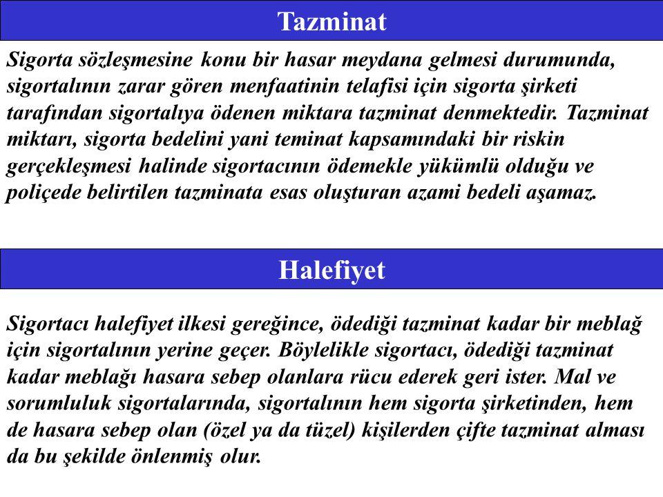 Hasara Katılım Tazminat prensibinde, sigortalının gerçek zararından fazlasını sigorta yoluyla elde etmemesi ve sigortayı bir kâr aracı olarak kullanmamasının esas olduğu belirtilmişti.