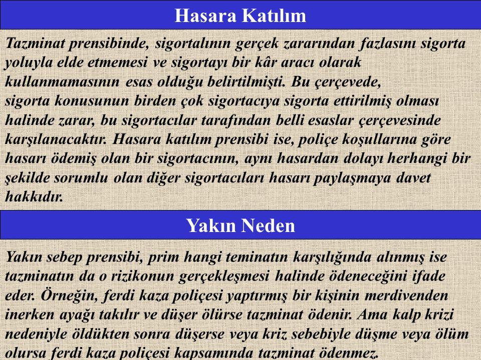 Hasara Katılım Tazminat prensibinde, sigortalının gerçek zararından fazlasını sigorta yoluyla elde etmemesi ve sigortayı bir kâr aracı olarak kullanma