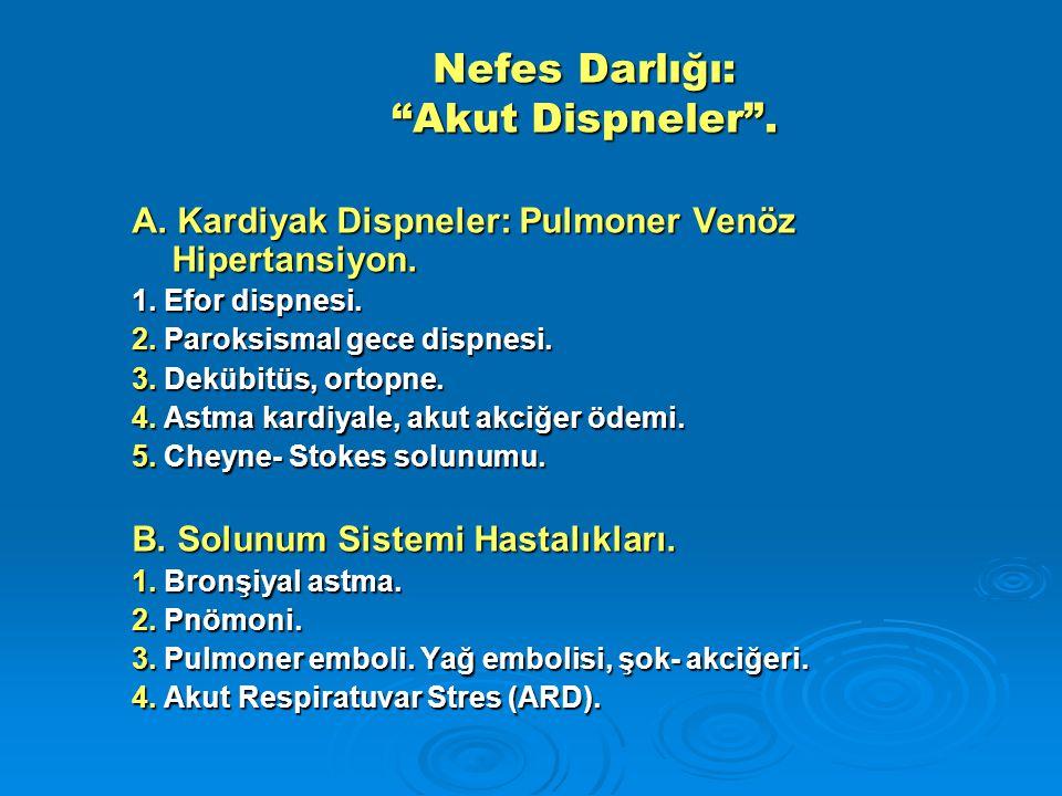 """Nefes Darlığı: """"Akut Dispneler"""". A. Kardiyak Dispneler: Pulmoner Venöz Hipertansiyon. 1. Efor dispnesi. 2. Paroksismal gece dispnesi. 3. Dekübitüs, or"""