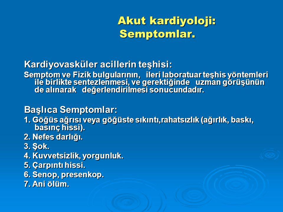 Akut kardiyoloji: Semptomlar. Akut kardiyoloji: Semptomlar. Kardiyovasküler acillerin teşhisi: Semptom ve Fizik bulgularının, ileri laboratuar teşhis